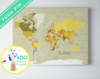 Personalized world map canvas push pin map set 3 canvas custom large world map vintage canvas countries capitals usa and canada states gumiabroncs Choice Image