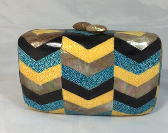 New Handmade Mini Minaudière Clutch with Chevron Design Inlaid with Mother of Pearl and Shagreen