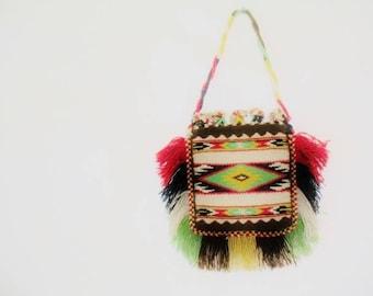 Vintage 1970s Hippie Boho Tribal Southwest  Loom Woven Wool Bag