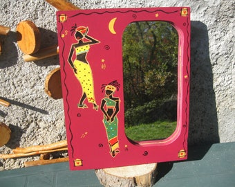 Decorative wall mirror wood carved African patterns