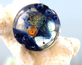 lampwork lentil, lampwork glass bead, implosion focal, lampwork bead, double helix glass, iridescent, oil slick, murrini bead, royal blue