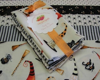 Quilters Fabric Bundle Halloweeen Fat Eights Spider Witch Hats Stripes Floral Graphic Medium Prints Quilt Detash Spooky Quilt Cotton Fabric