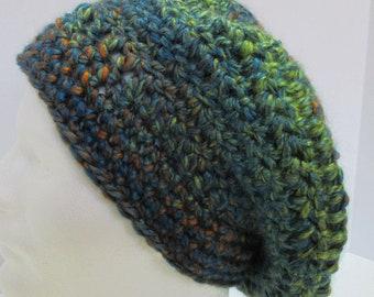 Green Slouchy Hat Blue Striped Cap Big Hair Dreadlocks Chunky Oversize Handmade Crochet Knit Mans Womans Unique Soft Warm Tam Beret Beanie