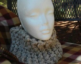 Knitted Cowl Scarf / Sassenach Outlander Highland Knits Series / Oatmeal Comfy Neckwarmer