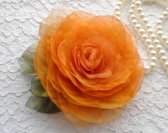 Large Yellow Orange Fabric Flower Brooch, Bridal Hair Clip, Wedding Accessory, Floral Bridal Brooch, Hairstyles For Bride, Cosual Style