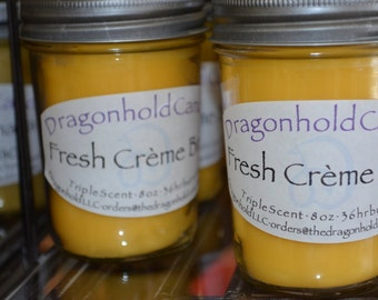 Fresh Creme Brule Candle: Hand Poured, Triple Scented Soy-Paraffin Candle