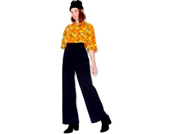 vintage 70s 1970s black poly knit bellbottoms bell bottom pants trousers flared flares sta prest style womens size medium 28 29 waist