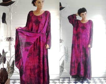 Purple fuscia tie dye rayon enchantress 70s 90s goth grunge boho sack baggy slouchy witchy maxi dress size 8-20 long sleeve Vixen hippie