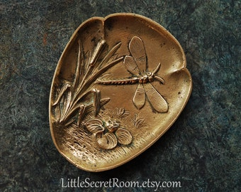 Antique Art Nouveau Brass Tray / Plaque / Dragonfly Rushes Water Lily
