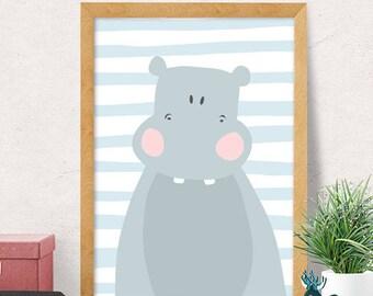 Hippo print, nursery wall art, modern nursery decor, cute baby gift, hippo illustration, nursery wall decor, kids room decor, cute nursery