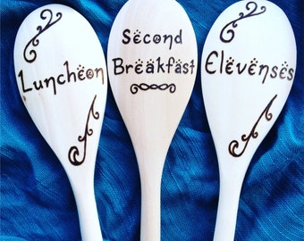 Lord of the Rings - Hobbit Meal Times, Second Breakfast Wooden Spoons, Lord of the Rings wedding gift, hobbit Christmas gift, bridal shower