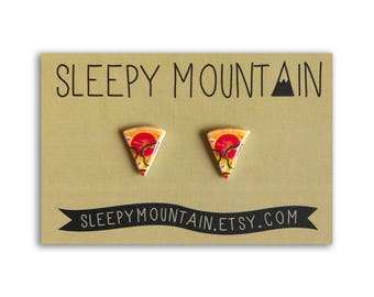 Pizza Earrings - Veggie Pizza Slice Stud Earrings