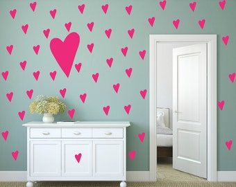 FREE SHIPPING Hearts Wall Decal.112 Decal.Color  Pink Nursery Wall Decal. Vinyl Decal. Wall Sticker. Wall Art. Kids Wall Decal.