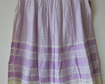 1960's White and Lilac A-Line Striped Skirt