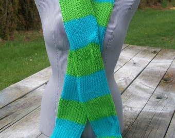 Knitted Lime Green and Turquoise Striped Long Scarf Ready to Ship