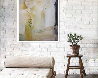 White abstract painting, white canvas, modern painting, beige canvas, cream art, large white painting, giclee print on canvas, wall art