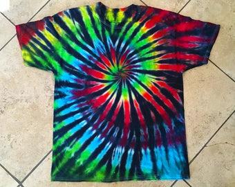 Rainbow spiral tie dye t-shirt, extra large
