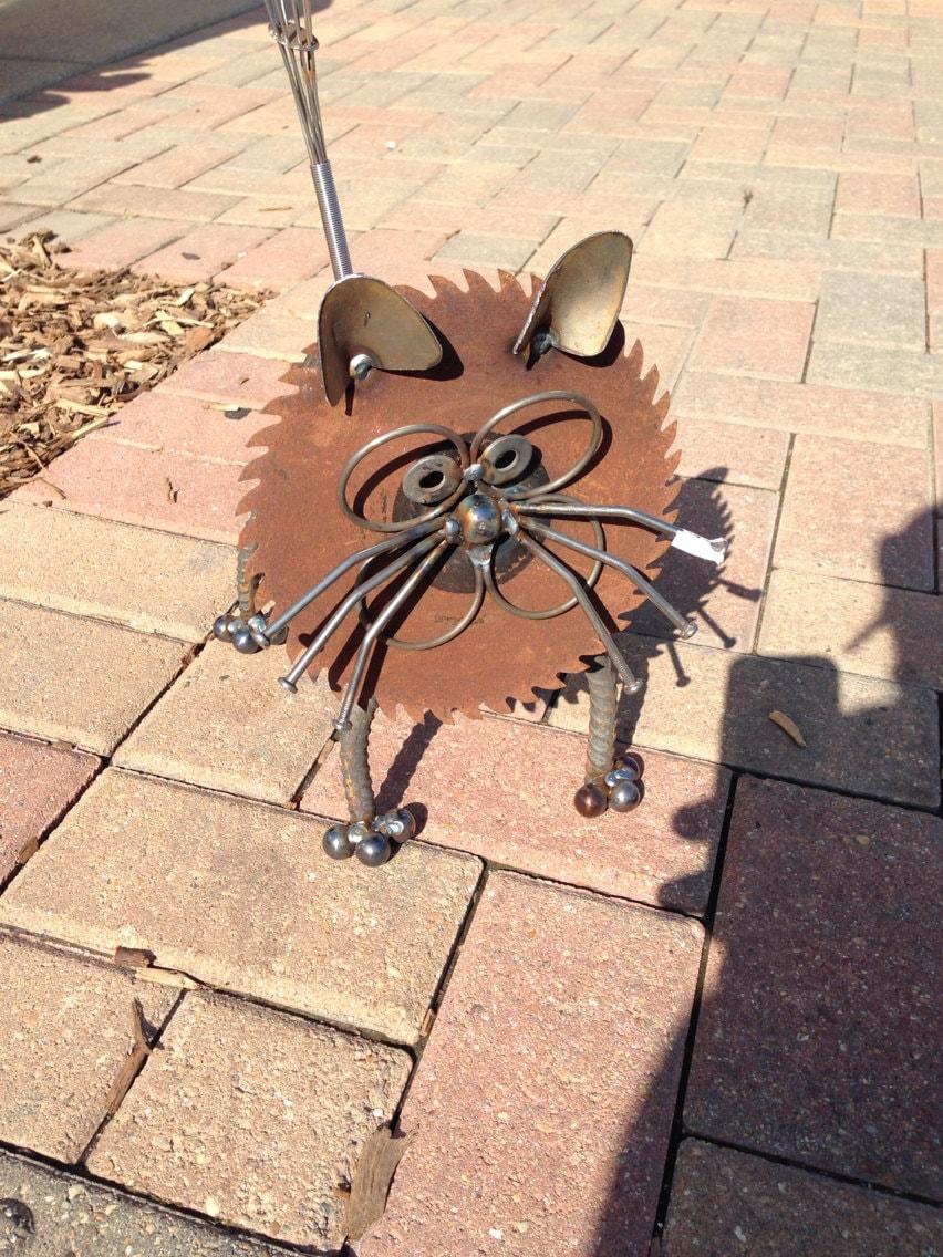 Cat recycled garden art sculpture for Cat yard art