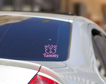Butterfly Car Window Decal, Gifts for Her, Butterfly Decals, Custom Name Decal for Car, Car Window Butterfly Sticker, Butterfly Stickers