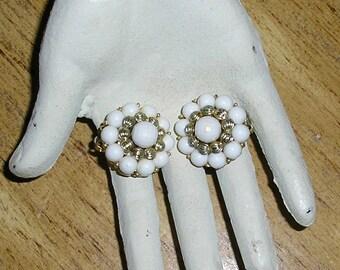 Vintage, 50s, signed, Coro, white cluster bead earrings, clip on, white, gold