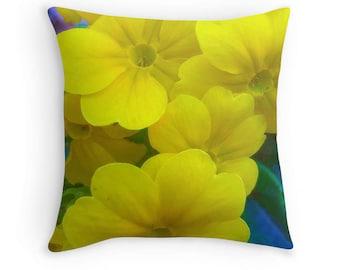 Art throw pillow, yellow sofa  couch pillow, home living decorative pillow,floral art pillow, Rosebush accent decor, pillow