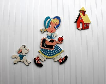 Mary Had a Little Lamb Mother Goose Pin-Ups The Dolly Toy Company with Original Box Nursery Rhyme Made & Printed in USA Nursery Decor