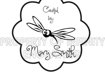 Personalized - Created by - Dragonfly Rubber Stamp
