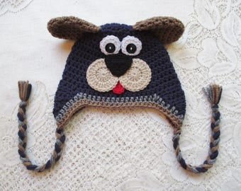 READY TO SHIP - 3 to 6 Month Size - Navy Blue, Brown and Grey Puppy Crochet Hat - Winter Hat or Photo Prop