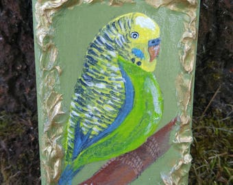 Green and yellow Budgie bird on branch hand painted on reclaimed wood piece
