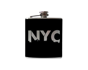 New York City Flask- alcohol, Urban NYC, whiskey- Personalized Custom - YOU pick COLOR