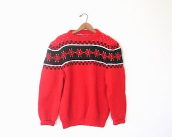 Vintage 1970's SNOWFLAKE Hand Knit HOLIDAY Cozy Ugly Sweater SKI Pullover Size Medium