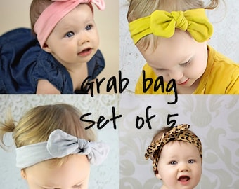 Grab Bag! Set of 5 head Wraps | Baby and Toddler Aztec  top knot headband | Bohemian Bow