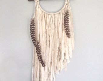 Bohemian Dream Catcher - Dream Catcher Wall Hanging with Turkey Feathers - Branch Decor - Boho Dreamcatcher - Large Dream Catcher