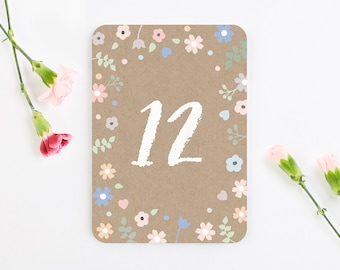 Pastel Floral with Kraft Base Table Number