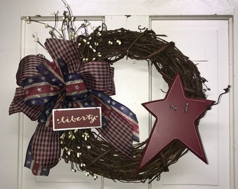 Farmhouse Decor  / Independence Day Decor / 4th of July Wreath / Red White & Blue Wreath /  Fourth of July Wreath / Patriotic  Wreath