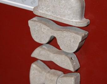 Concrete Bowler Hat Gentleman Magnets - Set of 4