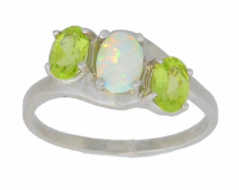 1.5 Ct Opal & Peridot Oval Ring .925 Sterling Silver