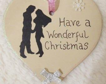 Handmade Personalised Disney Pocahontas John Smith Christmas Tree Heart Decoration Ornament Hanging Sign Home Decor Gift