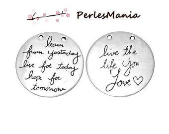 2 pendants MESSAGE LIVE YOUR LIFE 30mm (S1161525) ANTIQUE silver medal