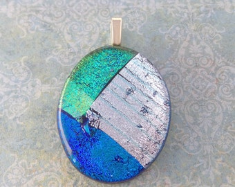 Oval Necklace, OOAK Fused Glass Pendant, Green, Royal Blue, Silver Dichroic, Handmade, Omega Slide, Fused Glass Jewelry - Glory Moon - - 4