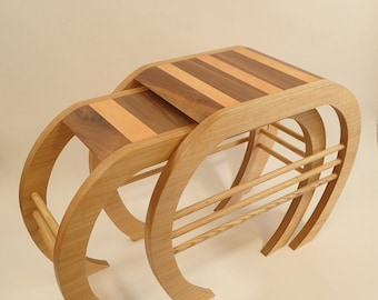 Crab Nest - Handmade nest of coffee tables in ash, birch plywood & leather - ONE OFF