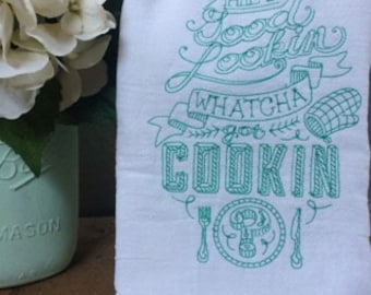 Hand Towel | Hey Good Lookin' | gift | Kitchen towel | Tea Towel | Funny Towel | Hostess gift | Embroidered | Handmade | Sarcastic