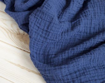 """New color! Double Gauze Fabric in Navy Blue - sold by the half yard - 100% cotton muslin fabric, 52"""" wide"""
