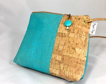 Cross body bag, cork purse, vegan bag, Cork fabric, teal blue bag, turquoise bag, vegan leather, vegan gift, sustainable gift