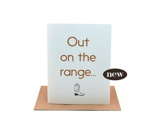 out on the range | pen pal writing prompt | cowgirl boot | cowboy boot | friendship card | wild west card | on the prairie|just because card
