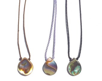 abalone necklace on silk cord // sterling silver // 14k gold fill