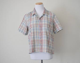 FREE usa SHIPPING top/blouse/ short sleeve/ plaid shirt/ button up shirt/ cotton blouse size S-M