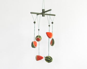 Baby Mobile. Watermelon Mobile. Hanging Mobile. Baby Shower Gift. Baby Crib Mobile. Felted Mobile. Nursery Decor. Watermelon.