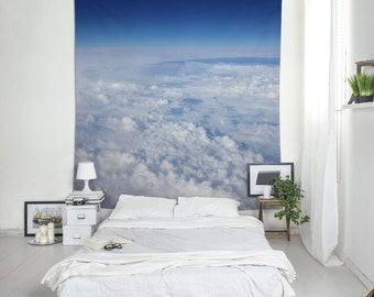 Sky Tapestry, Aerial Photography, Blue Wall Art, Wall Tapestries, Dorm Decorating, Clouds Tapestry. UL051