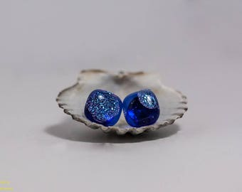 Dark Blue Dichroic Glass Earrings with Dots, Stainless Steel Posts, Hypoallergenic